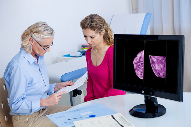 Discussing mammogram results.