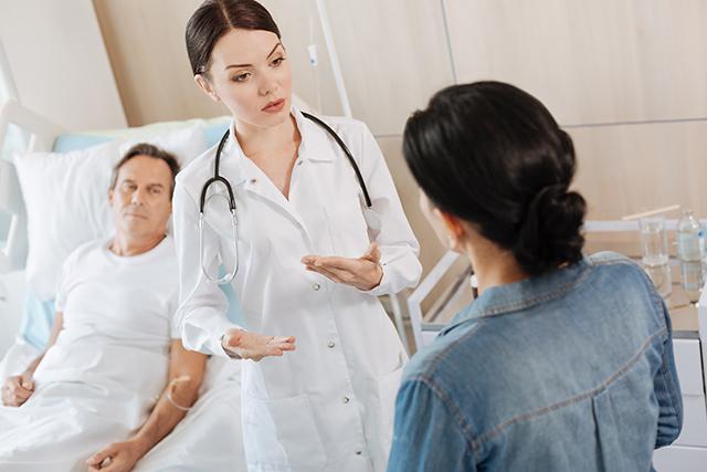 Addressing the concerns of a caregiver.