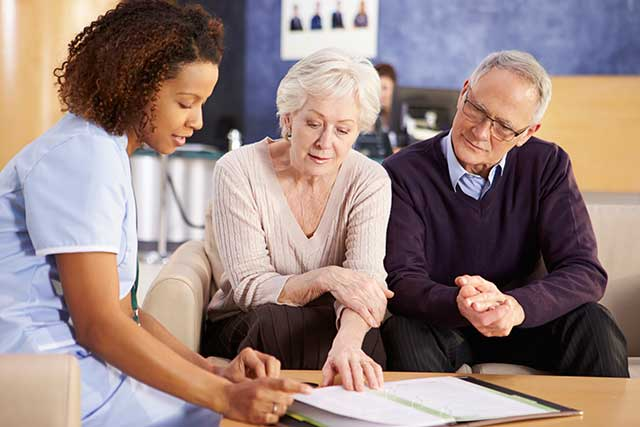 Providing the patient and caregiver a course of care.