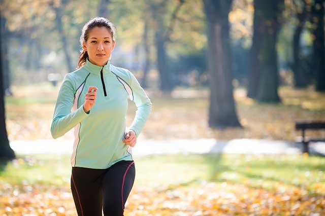 Woman taking an outdoor jog.