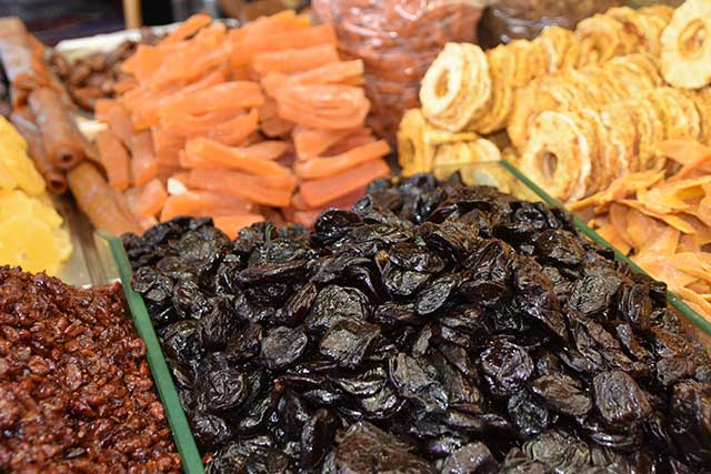 A selection of dried fruit.