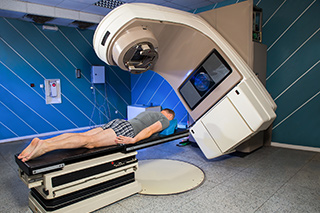 A patient receiving radiotherapy.