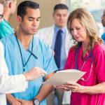 A medical team reviews a care plan.