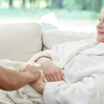 A patient with cancer receives palliative care.