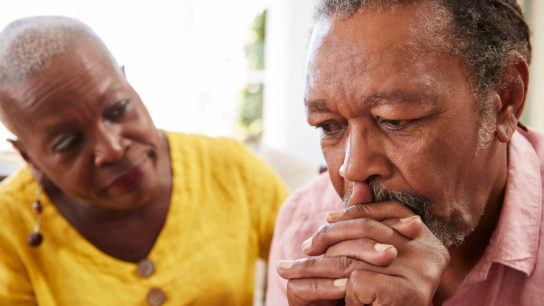 A cancer diagnosis may be associated with depressive symptoms.