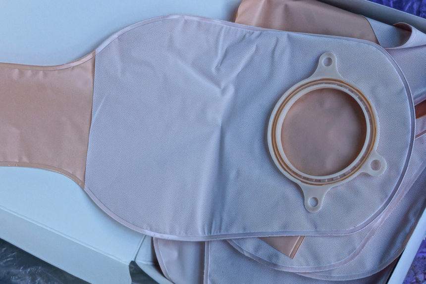 A standard medical colostomy bag.