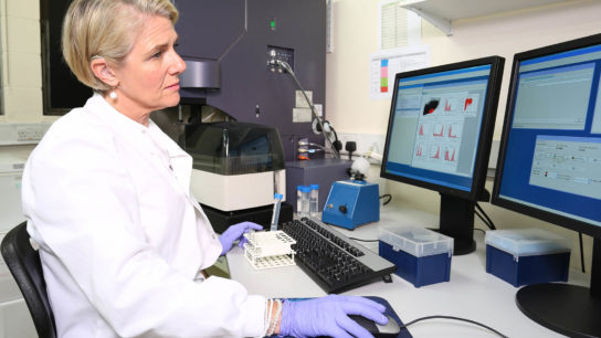 A clinician uses a flow cytometer.