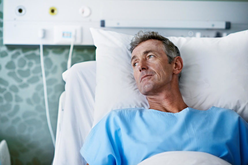 A patient with cancer waits for treatment.